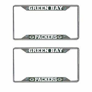 Football Green Bay Packers Chrome License Plate Frames Metal Universal Pair