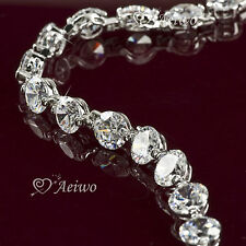 18K WHITE GOLD GF BRILLIANT SIMULATED DIAMOND BANGLE CHAIN BRACELET 8MM