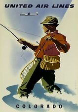 MAGNET Travel Poster Photo Magnet COLORADO Fly Fisherman United Air Lines