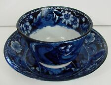 Antique Christmas Eve Tea Cup and Saucer Clews Staffordshire Pearlware 1825