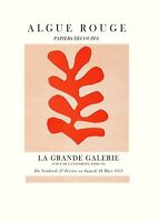 GALLERY EXHIBITION POSTER: Vintage Art Print, Red Leaf Matisse Style Poster