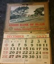 Union Bank of Blair Wisconsin 1937 Calendar advertising System Entry Year Book