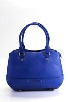 Folli Follie Womens Leather Gold Tone Uptown Satchel Shoulder Handbag Blue