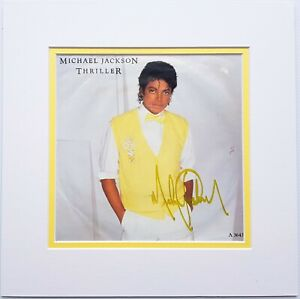 """Michael Jackson signed UK Thriller EP single 7"""" autographed MJ double matted"""