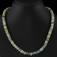 GENUINE 245.50 CTS NATURAL BLUE FLASH LABRADORITE UNTREATED ROUND BEADS NECKLACE