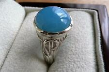 SKY BLUE CHALCEDONY 925 STERLING SILVER DECORATIVE ROUND RING SZ R US 9