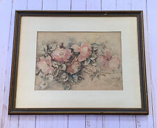 Antique Watercolor Painting Floral Still Life Roses Emilie Atwood 1911