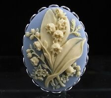Silver Plated Lily of the Valley Cameo Brooch Pin