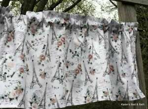 Paris Eiffel Tower Pink Roses Glitter Sparkle Handcrafted Curtain Valance