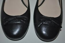 NEW Sz 35 - 5 PRADA BLACK Leather Logo & Bow Detail Pump Low Heel Shoes