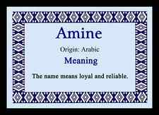 Amine Personalised Name Meaning Placemat