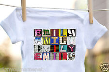 EMILY Baby Bodysuit in Sign Letter Photos - 100% Cotton & Short Sleeve
