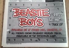 BEASTIE BOYS 'Pass The Mic' 1992 UK Press ADVERT 12x8 inches