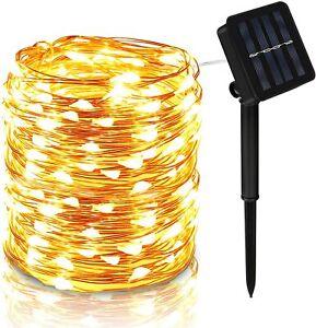 Solar Lichterkette Beleuchtung 100-200 LED Kupferdraht Party Garten Außen Deko