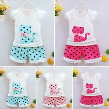 Girls Baby Kids Summer Bow Cat Vest Shirt Top Polka Dot Shorts Pants Outfits Set