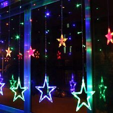 138led Star Fairy Light Window Curtains String Lamp Christmas Xmas Party Decor Mix Color