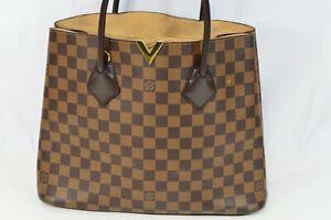 Authentic Louis Vuitton Kensington Damier Ebene Brown Check Leather France