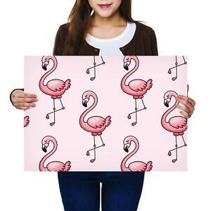 A2 | Tropical Flamingos Birds Cartoon Size A2 Poster Print Photo Art Gift #2081