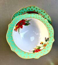 Pioneer Woman Stoneware Holiday Bowl Set of Two Winter Charm Garland Dots