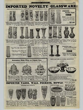 1926 Paper Ad Bohemian Art Glass Hand Painted Vase Wall Pockets Tea Sets Pots