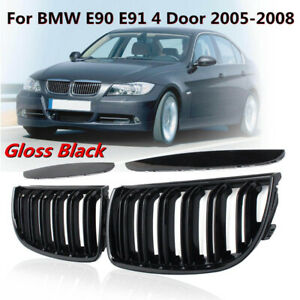 For 05-08 BMW 3 Series E90 E91 Gloss Black Front Kidney Dual Slat Grill Grille 1