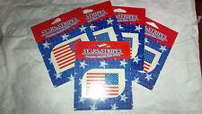 "L@@k set of 5 Flag Stars and Stripes Patriotic Temporary Tattoos 1.5""x 2 3/8"""
