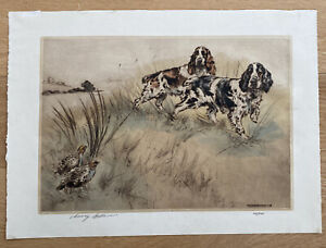 Henry Wilkinson Drypoint Etching - Cockers with Partridge