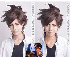 Game Anime Overwatch OW Tracer Unisex Dark Brown cosplay wig