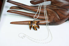 """Canada 4/5"""" Carved Tigers Eye Maple Leaf Pendant Charm Necklace 18"""" Silver Chain"""