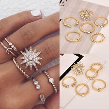 6pcs/set Women Rhinestone Jewelry Boho Midi Knuckle Moon Star Finger Ring Set