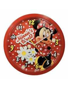 Disney Minnie Mouse Battery Operated Wall Clock Red