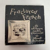 VTG 1950 Fractured French Ashtrays Coasters Complete Set All 24 In Original Box