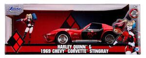 DC Comics Chevy Corvette Stingray 1969 + Harley Quinn Figure 1:24 (Jada 31196)