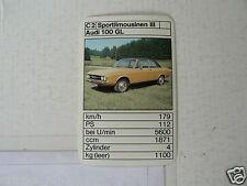 45-CARS/AUTO C2 AUDI 100 GL KWARTET KAART, QUARTETT CARD,