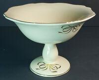 Teleflora Ceramic Footed Pedestal Bowl Compote Gold Rim Ribbon Bow Accents Cream