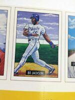 1987 BO JACKSON RC #2 ROYALS BASEBALL CARD MAGAZINE Uncut Sheet PSA ready MINT
