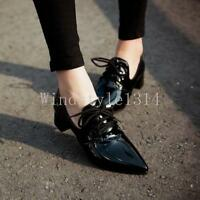 Chic Womens Pointy Toe Low Block Kitten Heels Lace Up Patent Leather Shoes Size