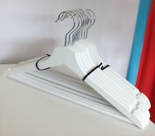 Bundle of 10 white painted wooden coat hangers with metal hook & trouser bar