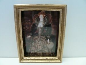 Dolls House Miniature 1:12 Lounge Queen Elizabeth the First Picture Gold Frame