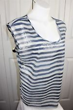 Womens NEW DKNY Chiffon Cami Tank Top with Sequin front size Large L