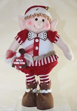 Standing Elf Gingerbread Boy - Bow Tie Red/White Tights - Wishes Come True Bag