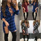 Women Lace-up Sexy V-neck Plaid Check Short Mini Dress Casual Top Blouse T-shirt