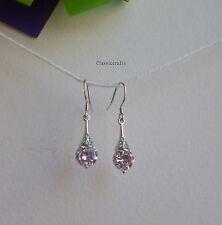 Certified S925  Sterling Silver Cubic  dangle earrings White