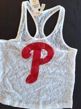 Victorias Secret PINK MLB Phillies White Lace Tank NWT S Licensed