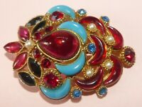 Sphinx vintage show-stopping poured glass and rhinestone 'Moghul' brooch