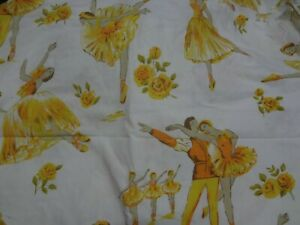 Vintage Large Yellow BALLERINA Themed Fabric Remnant (55cm x 65cm)