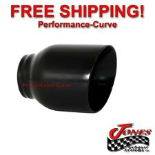 """Stainless Exhaust Tip Double Wall Angle Black 2.5"""" Inlet - 4"""" Outlet - 5"""" Long"""