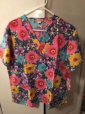 Silky Scrubs Microfiber Polyester Scrub Work Top Uniform Flowers Pink BlueMedium