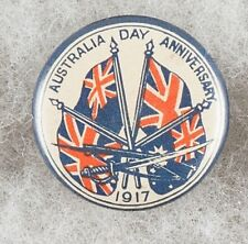 World War Australia Day Anniversary 1917 Flags Sword Rifle Pinback Button Badge