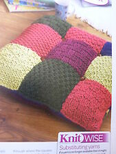 PatternTo Knit Lovely Large Floor Cushion Cover In 5 Colours Of Chunky-24in Sq.